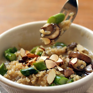 Pressure Cooker Brown Rice Risotto With Asparagus, Mushrooms And Toasted Almonds