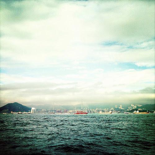 Hong Kong, Harbor, Stonecutters Bridge,  香港, 昂船洲大橋, 港口, view