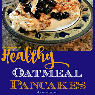 Healthy Oatmeal Pancakes with Fresh Blueberry Topping Recipe