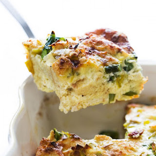 Breakfast Casserole with Leeks and Asparagus.