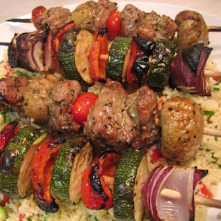 Lamb and Vegetable Kebabs with Yogurt Dipping Sauce.