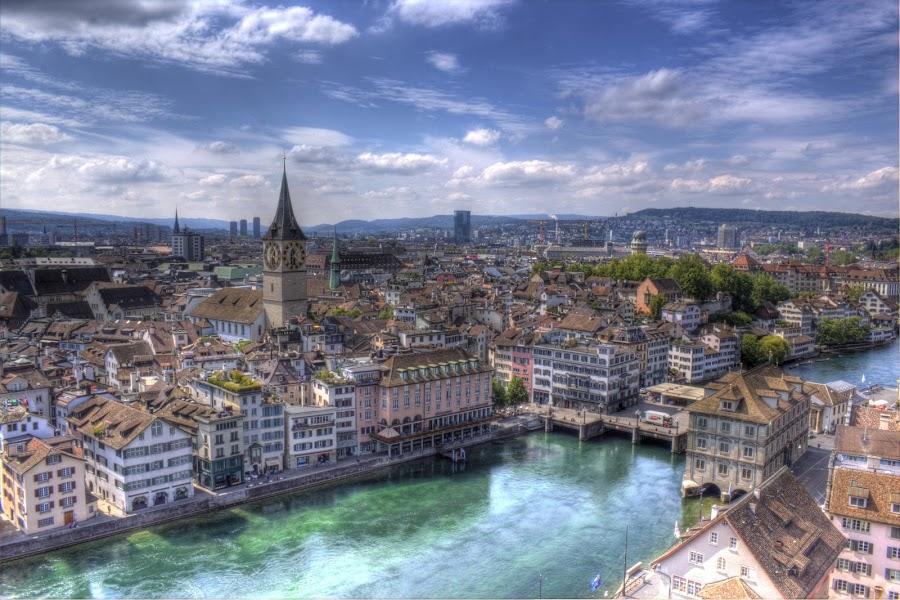 Zurich from Abbey by Bosco Ferreira - City,  Street & Park  Skylines ( zurich, day, pwcskylines, abbey )