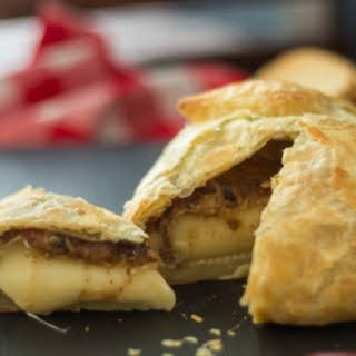 Baked Brie in Puff Pastry with Jalapeno Raspberry Jam and Almond Butter.