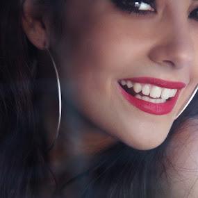 by Sandra Jakovljevic - Digital Art People ( vintage, red lips, retro, happiness, smile, women )