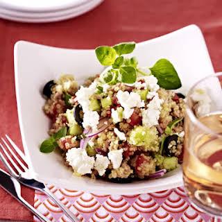 Quinoa Salad with Feta Tuna and Olives.