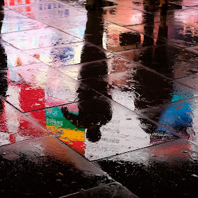 Three amigos  by Adrian Konopnicki - City,  Street & Park  Street Scenes ( reflection, color, reflection piccadilly wet pavement shadows, street, wet, piccadilly, pavement )