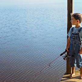 Waiting by Sabrina Causey - Babies & Children Children Candids ( fishing, barefeet, overalls, lake, boy, water,  )