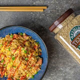 Lightened Up Spam and Kimchi Fried Rice Featuring RiceSelect Texmati Brown Rice.