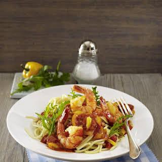 Spaghetti with Prawns in Tomato Sauce.