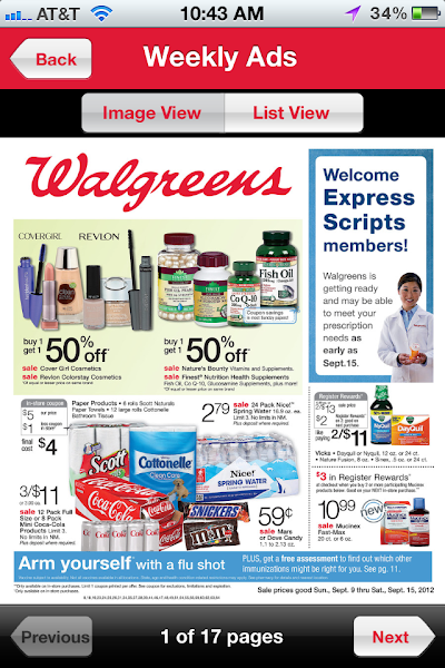 Photo: Since it's Sunday I usually check out the new Walgreens store ad online but found that I can I access it from the mobile app.