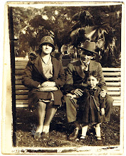Photo: Rose and David Bookchester, with Goldie  5 January 1931 (card 1)
