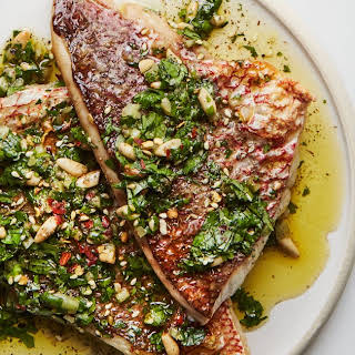 Broiled Red Snapper with Za'atar Salsa Verde.