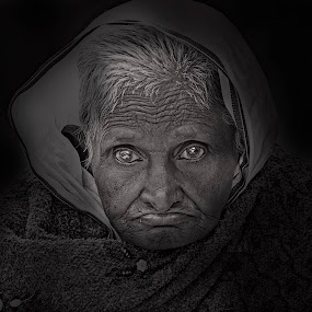 Something In Her Eyes. by Pritam Sharma - People Portraits of Women ( woman, black background, shadow, old, bnw, best, portrait, eyes, eye, awesome, blackandwhite, lady, black and white,  )