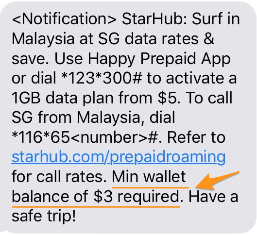 $3 minimum wallet amount required in StarHub prepaid app for roaming.