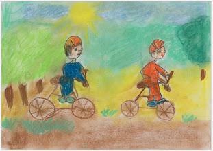 """Photo: wyróżnienie : praca Kasi :""""Jeździmy rowerem, bo sprawia nam to przyjemność""""."""