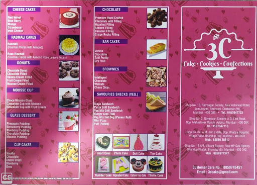 3C Cake Cookies Confections menu 1
