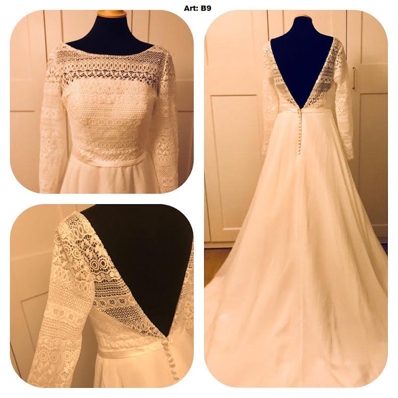 Bohemisk brudklänning med djup rygg
