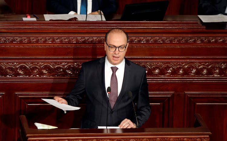 Tunisian Prime Minister Elyes Fakhfakh speaks at the Assembly of People's Representatives in Tunis, Tunisia, February 26 2020. Picture: REUTERS/ZOUBEIR SOUISSI
