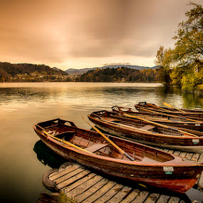 by Joško Šimic - Landscapes Waterscapes ( water, reflection, mountain, gorenjska, scenics, tranquil scene, wood - material, forest, lake, beauty in nature, travel, landscape, dusk, sky, tree, nature, sunset, slovenia, outdoors, bled, summer, nautical vessel, everypixel, river,  )