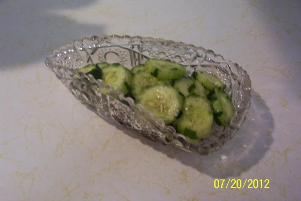 Wash cukes. Cut off ends. Partial peel cukes, lenght wise.  leave a few little strips...