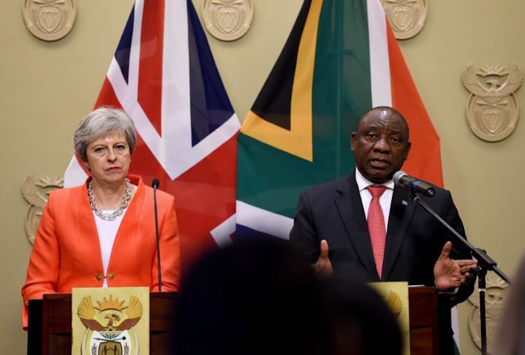 British Prime Minister Theresa May and South African President Cyril Ramaphosa.