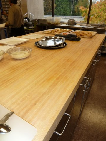 Photo: This butcher block top made from our Honeycomb Sandwich panel and veneered in maple is used in a commercial (private) school cafeteria.