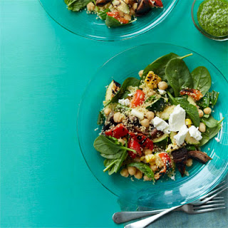 Grilled Vegetable Salad with Couscous and Herb Pesto