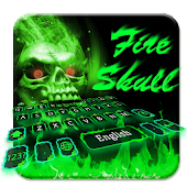 Green Fire Skull Keyboard