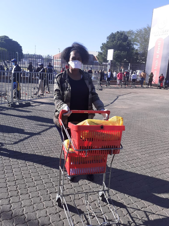 Hazel Sithole, 39, said she arrived at Atteridgville plaza at about 5am. Sithole, who is also a nurse working in the Covid-19 ward, was excited to be number one in the long queue.