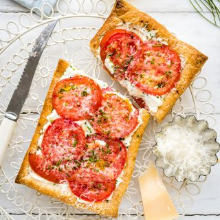 Easy Vegetarian Puff Pastry Tomato Tarts with Feta and Ricotta Recipe