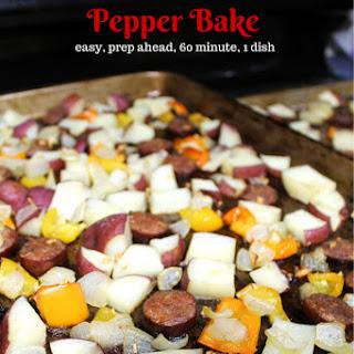 Andouille Sausage, Potato, and Pepper Bake.
