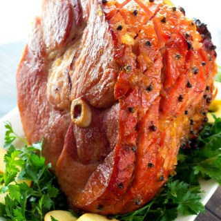 Brown Sugar Bourbon Pineapple Glazed Ham.