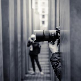 The Headshot by Andrei Ciuta - City,  Street & Park  Street Scenes ( canon, photographers, memorial, black and white, germany, berlin, nikon, street photography, cameras )