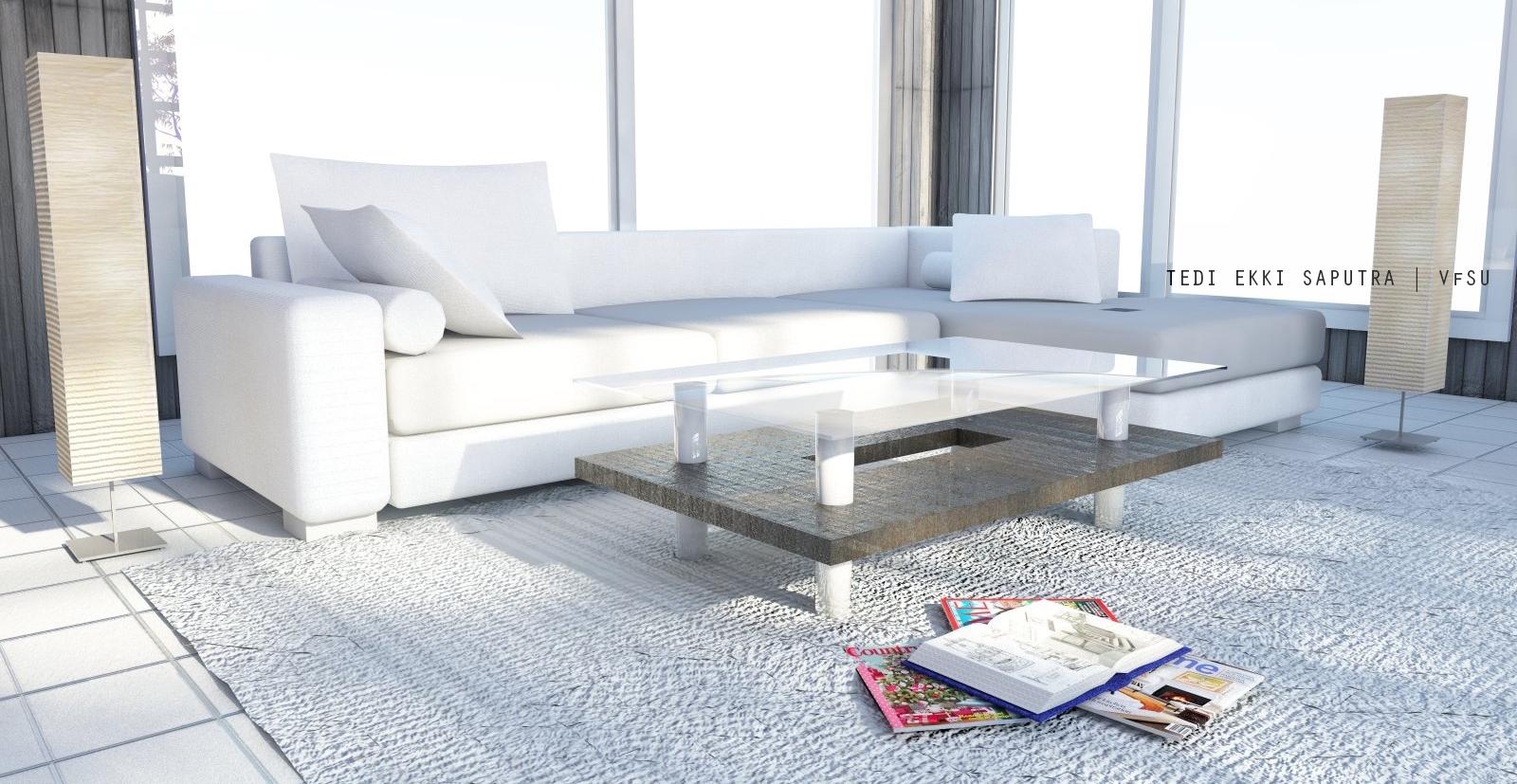 Contoh Ruang Keluarga dengan Warna Putih - sumber : dokumentasi Narasi Design