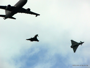 Photo: Italian Air Force KC-767A plus two Typhoons: a home-country EF2000 and an RAF FGR4