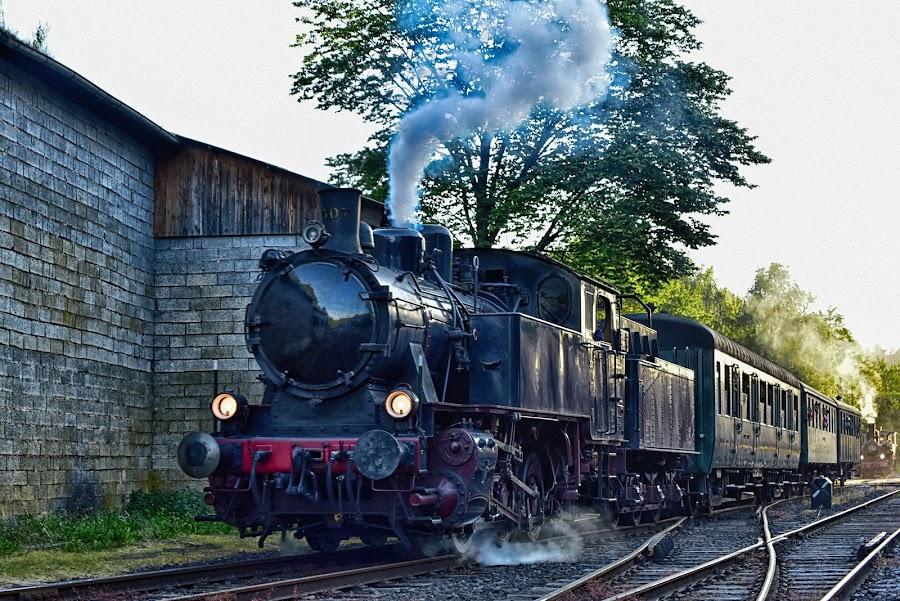 Approaching The Train Station by Marco Bertamé - Transportation Trains ( steam engine, old, fond-de-gras, lokomotive, rail tracks, vintage, train 1900, steam, luxembourg,  )