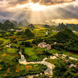 Sunray Over Mountains by Mercier Zeng - Landscapes Mountains & Hills ( landscapes, rivers, sunrays, guilin, china, asia, mercier zeng, karst mountains )