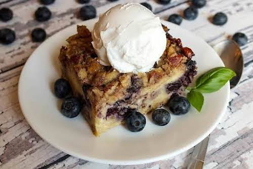 """Blueberry Pecan Crunch Bread Pudding """"Wow, now this is bread pudding. It's..."""