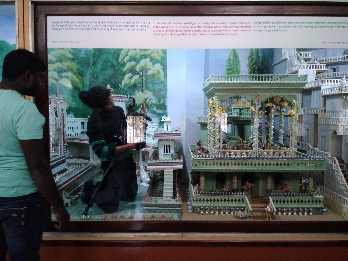 Prem inside a showcase while filming a documentary on Jainism (in post production), Ahmedabad