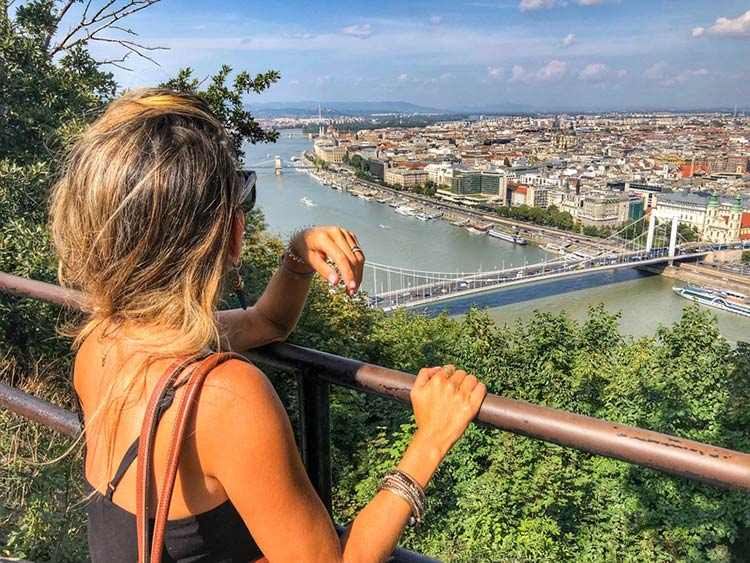 Here I am taking in a sweeping view of the Danube during our bus tour.