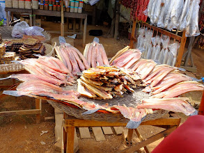Photo: Fish from the lake drying at the side of the road