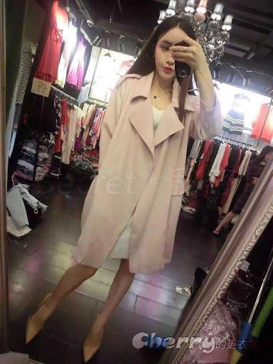 韓版歐美風翻領綁帶寬鬆繫帶中長款風衣外套