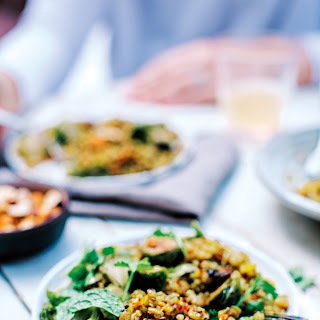 Honey Roasted Sprouts with Lentil-Quinoa Pilaf.