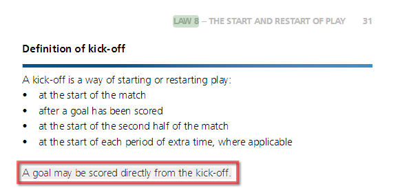 Can a Goal Be Scored Directly From the Kickoff?
