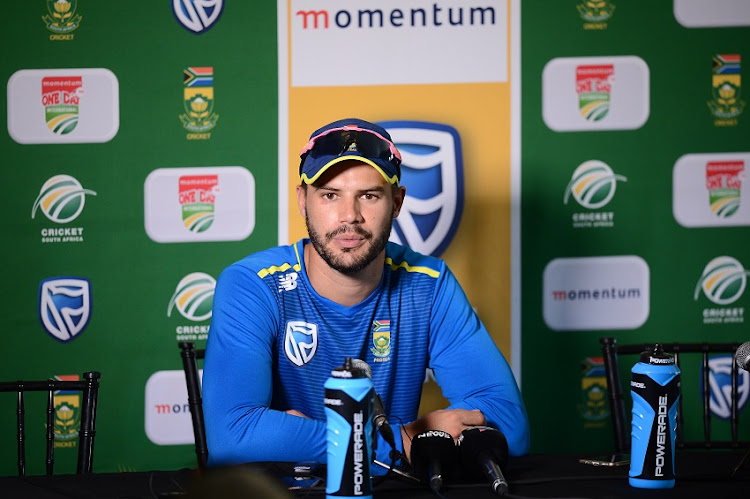 Aiden Markram of South Africa speaks to media during the South African national men's cricket team training session and press conference at St Georges Park on March 12, 2019 in Port Elizabeth, South Africa.