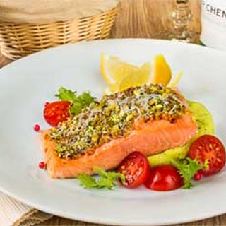 Pistachio-Mustard Crusted Salmon with Pea-Potato Mash