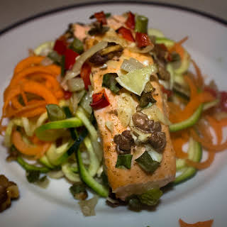Baked Salmon with Zucchini Noodles.