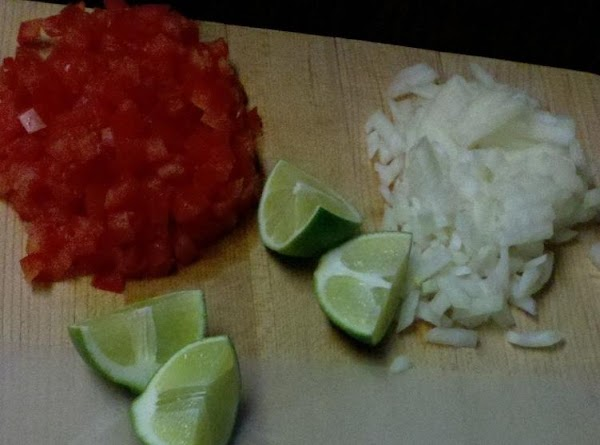 de-seed and dice roma tomato's, dice onion, clean and rough chop cylantro, grate cheese...