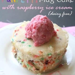 Vanilla Funfetti Mug Cake with Raspberry Ice Cream Single Serve.
