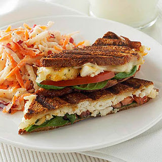 Cheesy Tilapia Panini with Apple-Carrot Slaw.